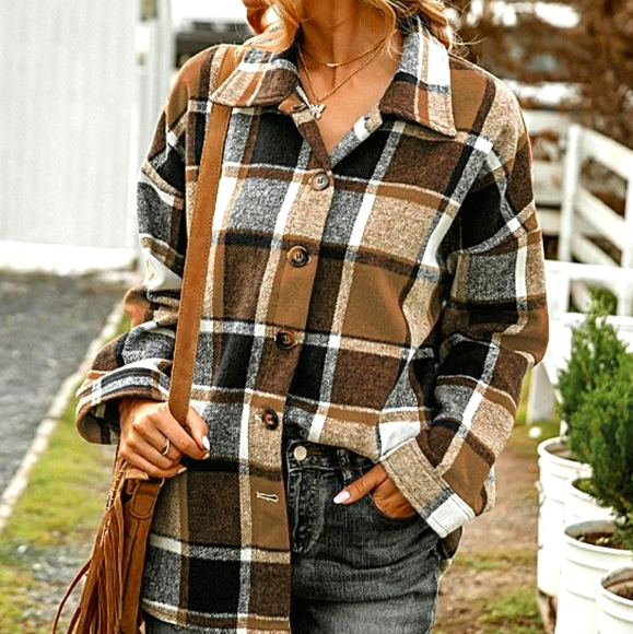 Tops - Brown & Black Plaid Button Down Flannel